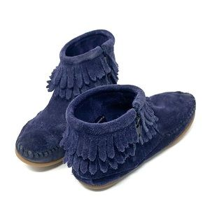 Minnetonka Shoes - Minnetonka moccasins blue suede slip on booties